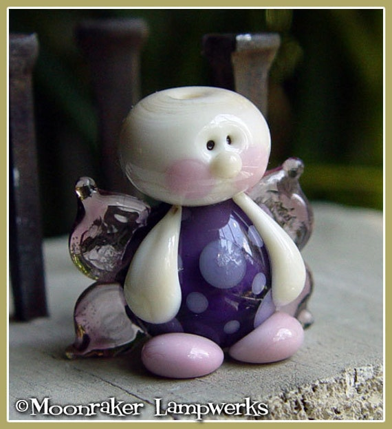 Sweet Pea Fairy // handmade lampwork bead // glass fairy bead // purple & pink // gifts for her // mother's day // angel // glass pendant