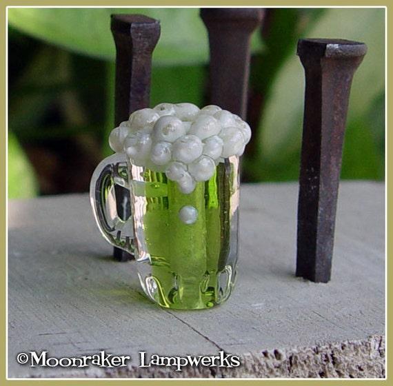 Green Beer Lampwork Bead