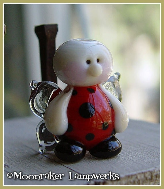 Ladybug Fairy Summer Lampwork Bead