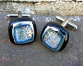 Black, silver and gold dichroic, kiln formed glass cufflinks