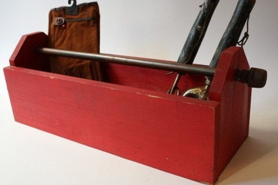 vintage wooden tool or garden caddy