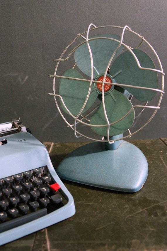 Vintage Electric Fan Superlectric Metallic Blue