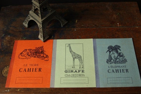 Vintage French Notebooks - Cahier - Collection of three