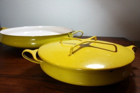 Set Of Two Dansk Cookware Yellow Kobenstyle Paella Pan And
