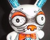 Made to Order White Rabbit Custom OOAK Custom Kidrobot Alice in Wonderland Dunny by Artist Kelly Green