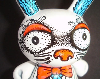 Made to Order White Rabbit Custom OOAK Custom Kidrobot Alice in Wonderland Dunny by Artist Kelly Green