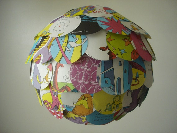 Kids Recycled Book Hanging Chinese Lantern Up Cycle Mobile Dr. Seuss Oh The Things You Can Think