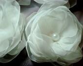 6 pieces white organza handmade flowers.