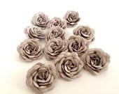 12 pcs  handmade  gray satin flowers