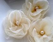 6 Pieces Ivory Organza Handmade Flowers