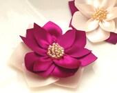 6 pieces handmade satin  lotus flowers magenta ivory peaches