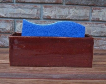Handmade Extra Large Brooklyn FireHouse Brick Red Classic Ceramic Sponge or Business Card Holder