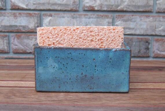 Handmade Rustic Kiwi Ceramic Sponge/Business Card Holder