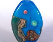 Sea Scape - lampwork focal bead in aqua blue