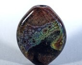 Black Magic - handmade lampwork focal bead in black, brown and green
