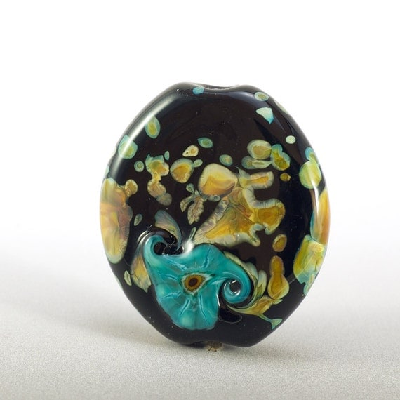 Particles - small lampwork focal bead in black, brown, green, yellow and purple
