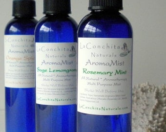 AromaMist Sampler Set of 3 All Natural Body Mists, Aromatherapy Room Spray, Linen and Air Freshener, made with Pure Essential Oils - On Sale