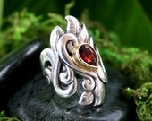 Decadence, hand carved  Sterling Silver Ring, Mozambique Garnet in 18k gold