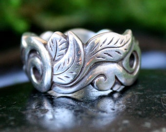 Serenity, Carved and Cast Sterling Ring, A Botanical Fantasy, Ready to Ship