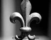 Photograph Print - Single Fleur de Lis Fencepost, New Orleans - nola mardi gras french quarter big easy black and white