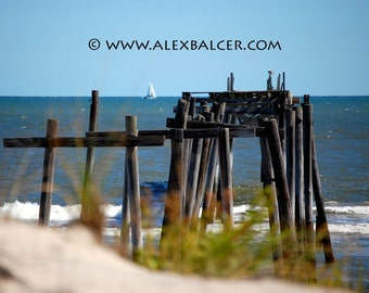 Fine Art Photography Print - Sailboat on the Horizon over Beach Pier, Ocean City NJ, www.alexbalcer.com