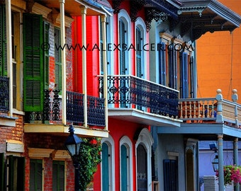 Photograph Print - French Quarter Row Homes, New Orleans - colorful big easy nola shotgun cottage mardi gras