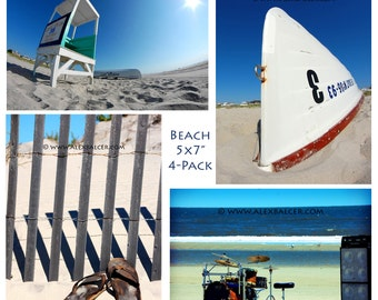Photograph Print - Summer and Beach 4-Pack - beach sea ocean summer sand sun waves blue lifeguard stand dunes drumset band drummer rowboat