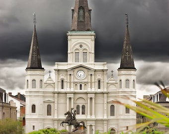 Photograph Print - Storm Rolling in over Saint Louis Cathedral, New Orleans - french quarter nola jackson square big easy church clouds
