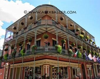 Photograph Print - French Quarter Historic Balcony, New Orleans - nola jackson square big easy unbrella facade mardi gras