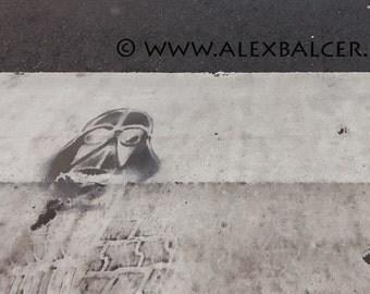 Photograph Print - Darth Vader & Stormtrooper Crosswalk Stencil - Philadelphia - street art streetart spraypaint paint spray philly phila pa