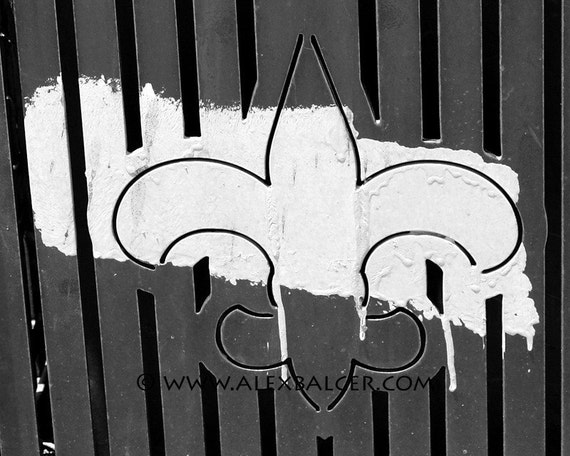 Photograph Print - Fleur de Lis with Painted Brush Stroke, New Orleans - nola mardi gras french quarter big easy black and white