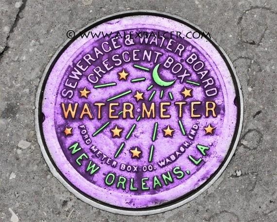 Photograph Print - NOLA Water Meter,  New Orleans - mardi gras french quarter big easy watermeter purple green yellow
