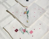 Dainty Vintage Handkerchiefs, Set of 3 - RESERVED FOR CECI