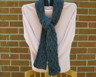 Knit Scarf Honeycomb Cable Style Vegan