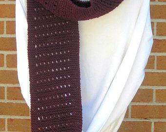 Knit Scarf Garter Ridge with Eyelets Vegan