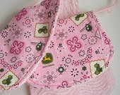 Baby Girl Chenille  John Deere Bib & Burp Cloth Set Reversible and READY TO SHIP