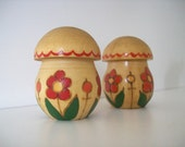 Russian FOLK ART Wooden Mushroom Salt & Pepper Shaker Set