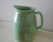 Vintage Pitcher -Capri- Art Pottery Sage Green Satin Ceramic