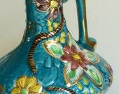 Vintage H. BEQUET Quaregnon Hand Painted -Floral Anemone Ewer Vase - Belgium