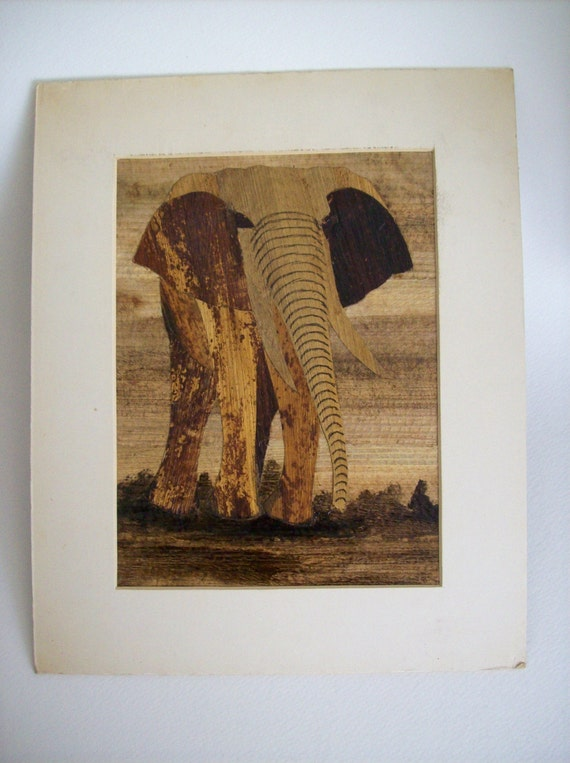 RESERVED Vintage Wood Bark Paper Inlay Mosaic Art Collage- Elephant RESERVED