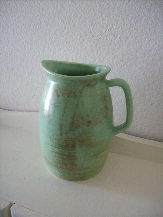 Vintage Pitcher -Capri- Art Pottery Sage Green Satin Ceramic