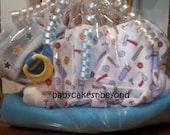 Adorable DIAPER BABY Gift Centerpiece Keepsake LOADED sleeping diaper baby cake boy girl name brand diapers