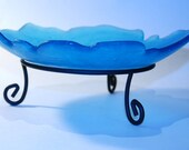Recycled Glass Bowl, Blue Beach Glass, Sapphire Blue glass, Natural Edge