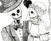 Skeleton drawing, Day of the dead, Pen and ink, Skeleton Wedding, Bride and Groom, blank greeting card, Halloween wedding, gothic decor