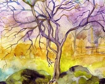 Watercolor Painting, Original watercolor, Abstract watercolor, tree Painting, watercolor landscape, Gold, purple, Cottage decor, winter  art