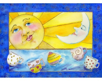 Eclipse painting, Sun and moon, Sun painting, moon painting, child decor, moon face, wall art, coffee and tea, fine art, giclee print