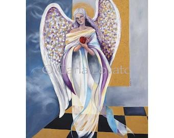 Angel Painting, Surrealistic Art, Giclee Print, angel wings, angel oil painting, angelic art, angel decor, blue & black, surreal painting