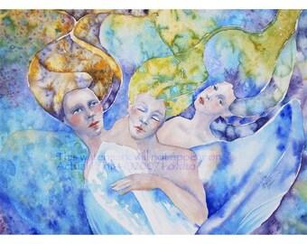 Goddess Painting,  Watercolor painting, Goddess art, spirit painting,  Three sisters, cobalt blue, teal blue, grass green