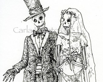Skeleton wedding,  Day of the Dead,  blank greeting card, 5 x 7 card