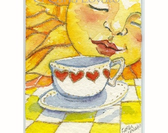 Sun face, Watercolor Painting, Sunshine face, Coffee cup, 5 x 7 Giclee Print, tea cup, sun face art, coffee mug, painting of sun face,